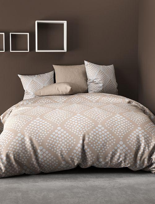 Parure de lit 2 personnes à pois                             beige/blanc