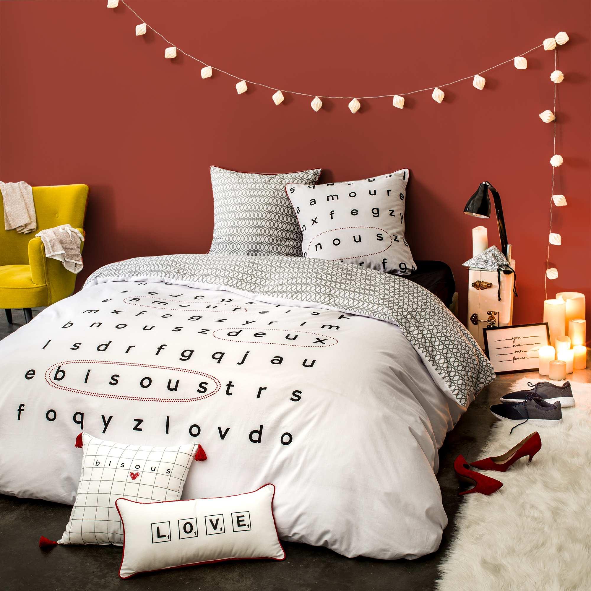 parure de lit 2 personnes linge de lit blanc kiabi. Black Bedroom Furniture Sets. Home Design Ideas
