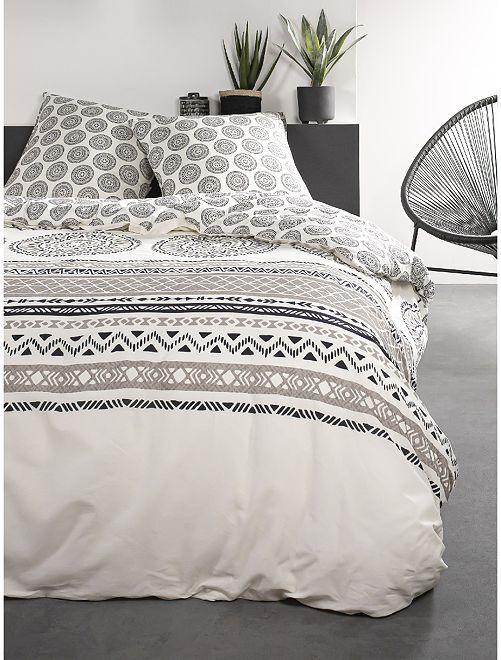 Parure de lit 2 personnes                             blanc/beige