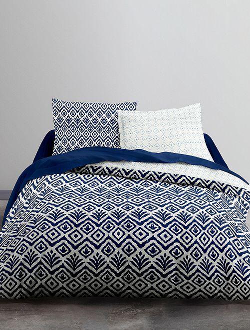 Parure de lit 2 personnes                             blanc/bleu Linge de lit