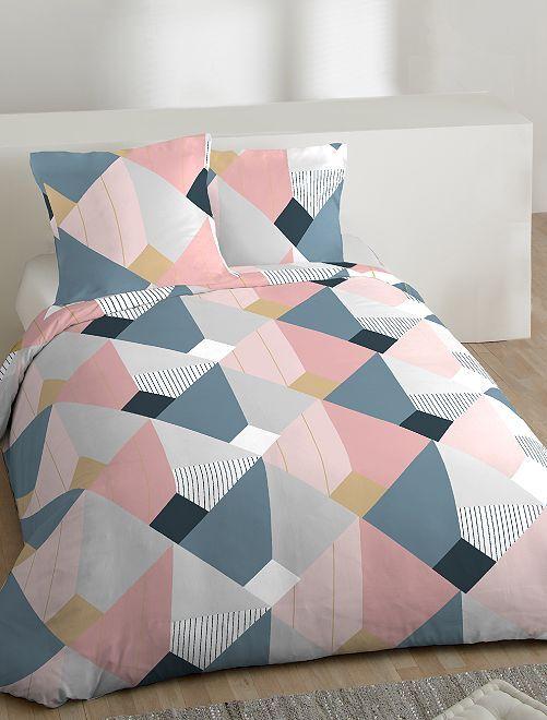 Parure de lit 2 personnes                             blanc/gris Linge de lit