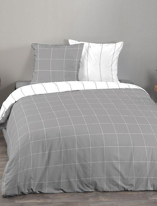 Parure de lit 2 personnes                             blanc/gris