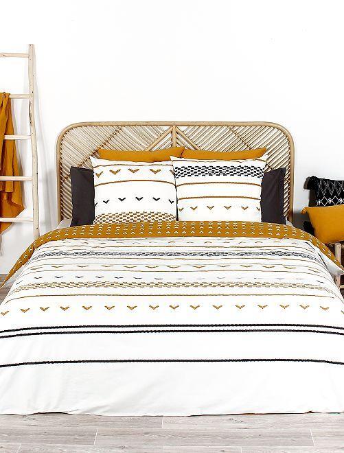 Parure de lit 2 personnes                             blanc/jaune