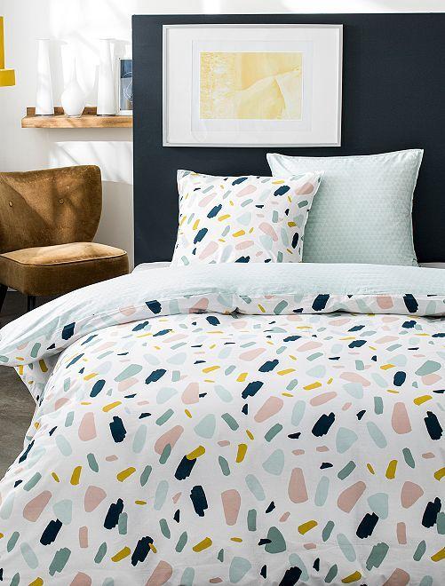 Parure de lit 2 personnes                             blanc/multicolore