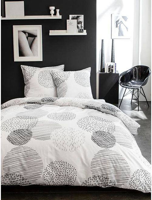 Parure de lit 2 personnes                             blanc/noir
