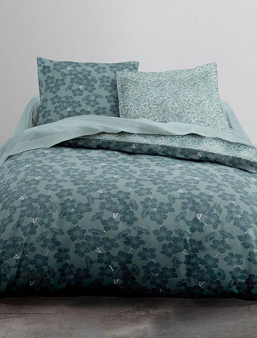 Parure de lit 2 personnes                             bleu vert