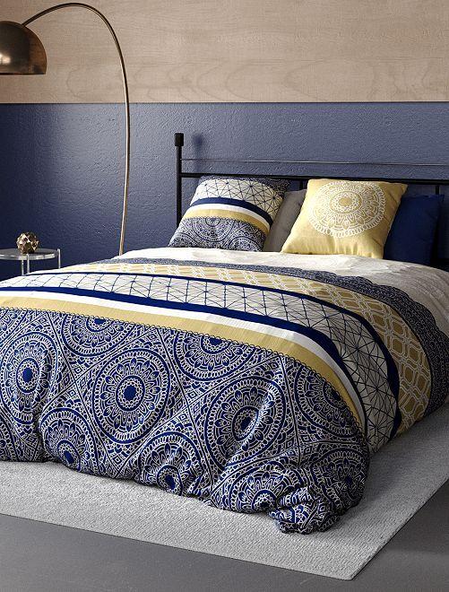 Parure de lit 2 personnes                             bleu/beige