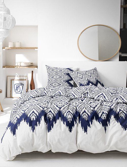 Parure de lit 2 personnes                             bleu/blanc Linge de lit