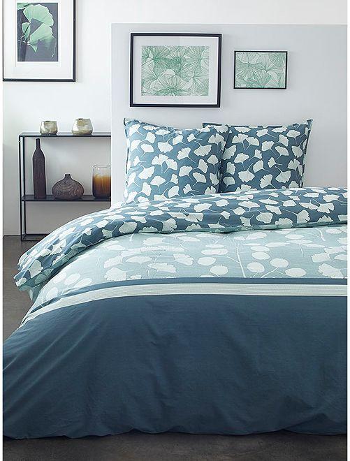 Parure de lit 2 personnes                             bleu/vert grisé