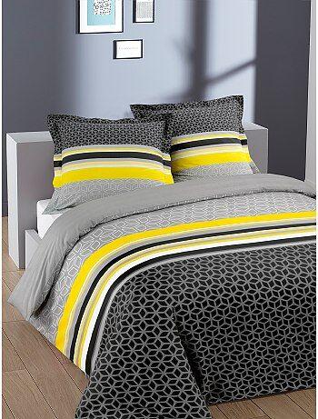 Parure de lit 2 personnes en coton 'geométrique' - Kiabi