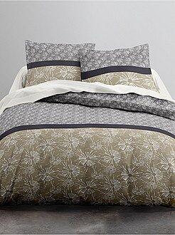 Parure de lit linge de maison gris kiabi - Parure de lit en flanelle 2 personnes ...
