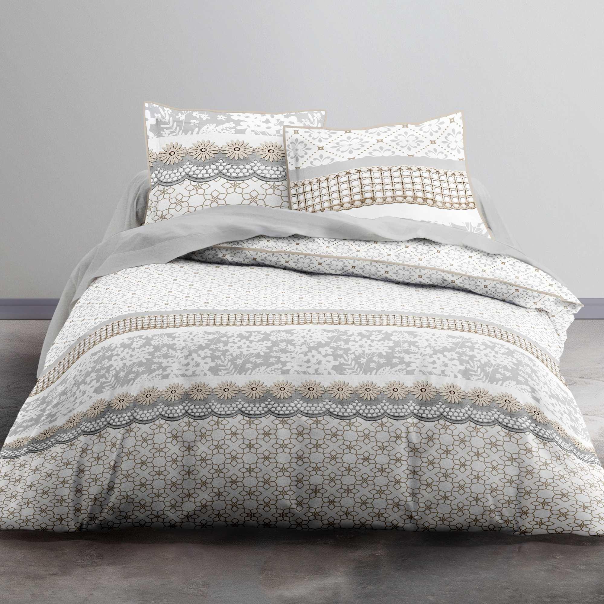 Couleur : blanc, , ,, - Taille : 240x220, , ,,Ambiance florale dans la chambre à coucher ! - Parure de lit 2 personnes en coton -