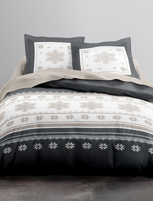 Parure de lit 2 personnes en flanelle                             noir/blanc