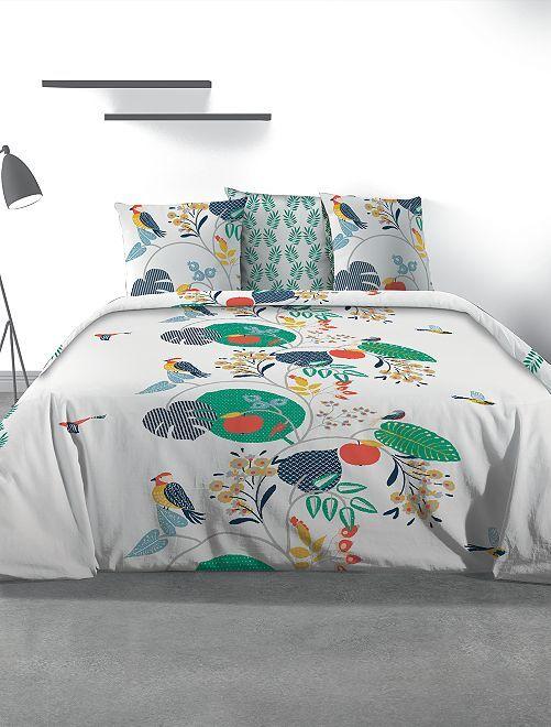 Parure de lit 2 personnes 'feuilles'                             blanc