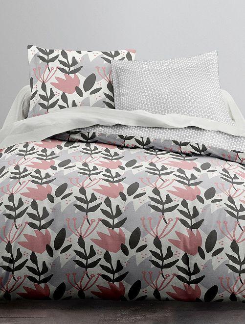 Parure de lit 2 personnes fleurie                             blanc/rose