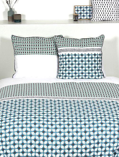 Parure de lit 2 personnes formes géométriques                             vert
