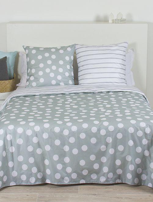 Parure de lit 2 personnes                             gris/blanc