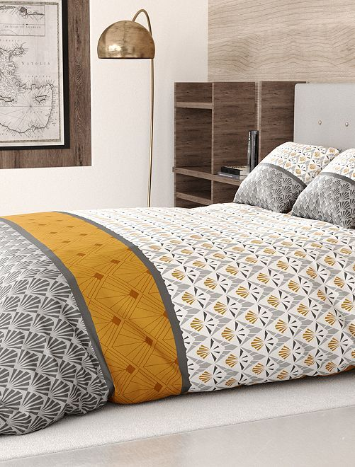 Parure de lit 2 personnes                             gris/jaune