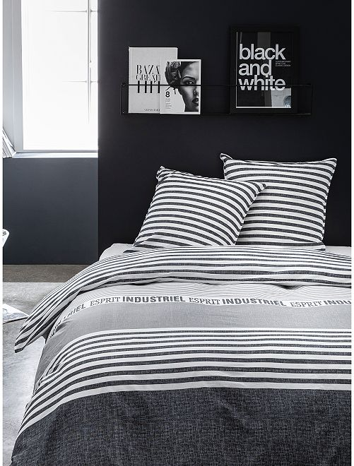 Parure de lit 2 personnes                             gris/noir