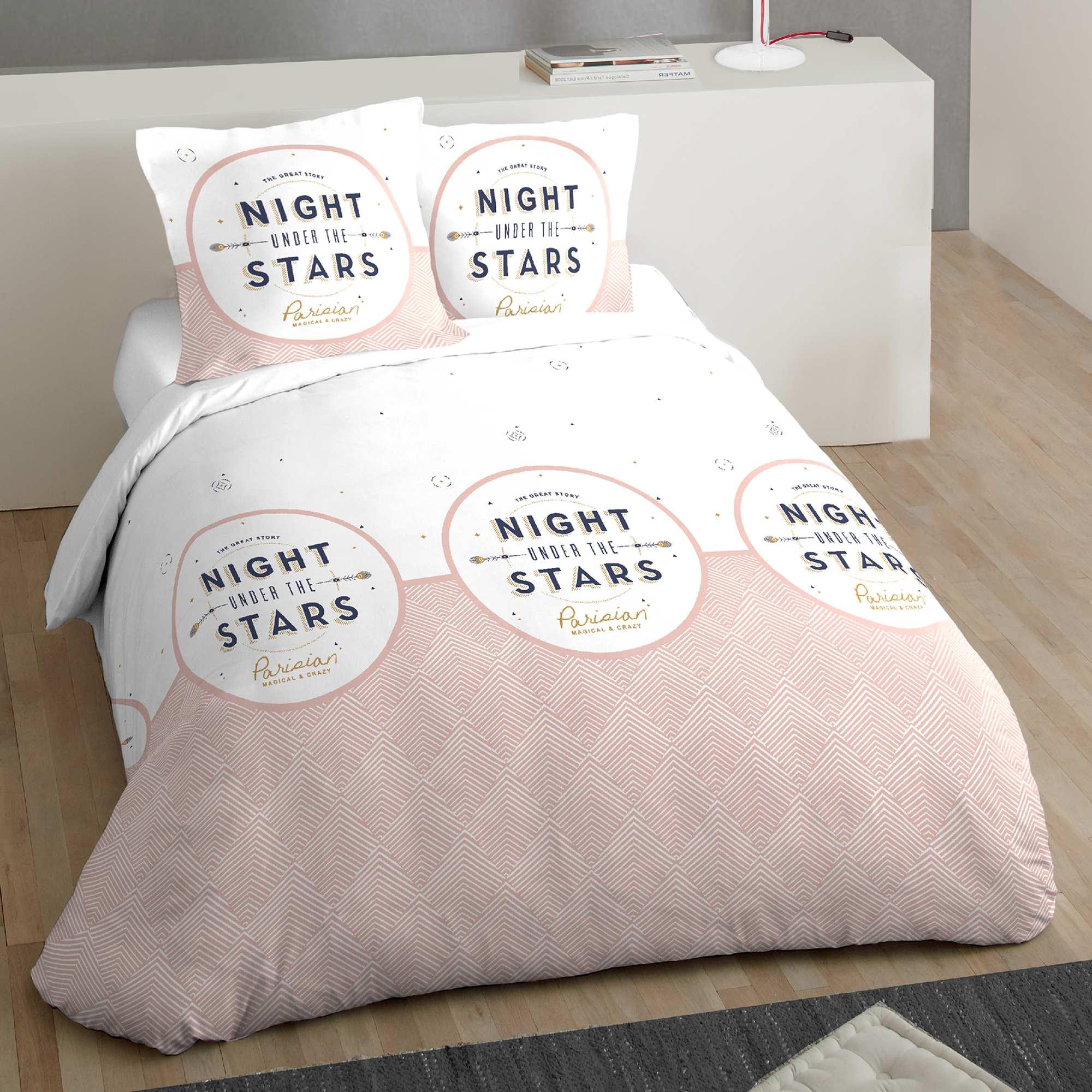 Couleur : blanc/vieux rose, , ,, - Taille : 260x240, , ,,Un graphisme frais et moderne pour cette parure de lit. - Parure 3 pièces en pur
