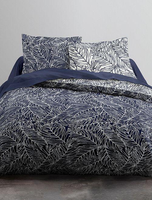 Parure de lit 2 personnes imprimé 'feuillage'                             bleu Linge de lit