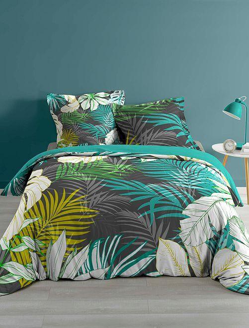 Parure de lit 2 personnes imprimé 'feuilles'                             vert