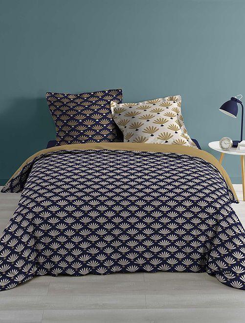 Parure de lit 2 personnes imprimé 'fleuris'                             bleu/doré Linge de lit