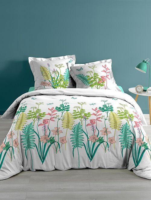 Parure de lit 2 personnes imprimé 'fleurs'                             blanc