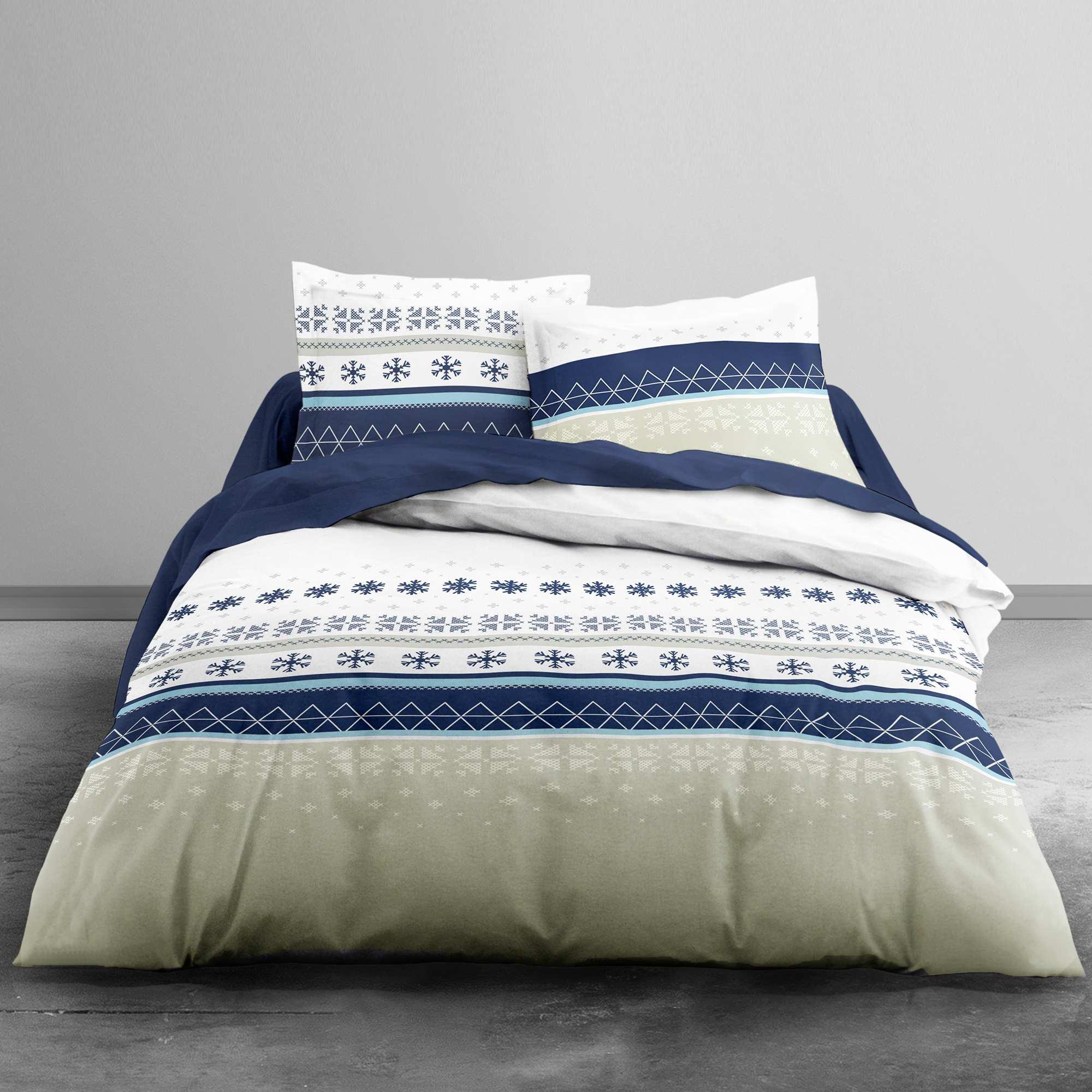 Couleur : beige/bleu, , ,, - Taille : 240x220, , ,,On recrée l'ambiance chalet montagnard à la maison ! - Parure de lit 2 personnes -