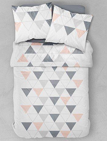 parure de lit 2 personnes imprim g om trique linge de lit blanc kiabi 28 00. Black Bedroom Furniture Sets. Home Design Ideas