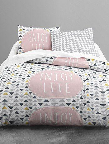 parure de lit 2 personnes imprim graphique linge de lit. Black Bedroom Furniture Sets. Home Design Ideas