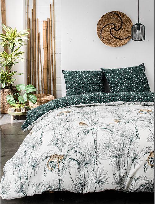 Parure de lit 2 personnes imprimé 'Jungle'                             blanc/vert