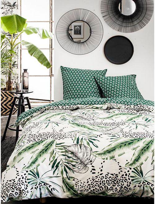 Parure de lit 2 personnes imprimé 'jungle'                             bleu