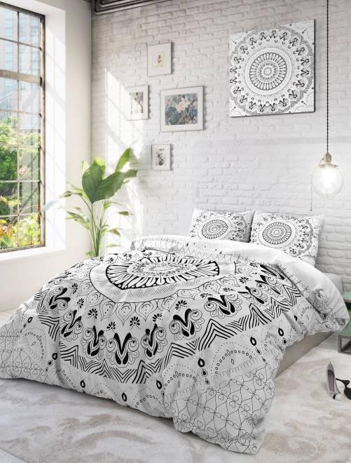 Parure de lit 2 personnes imprimé mandalas blanc linge de lit