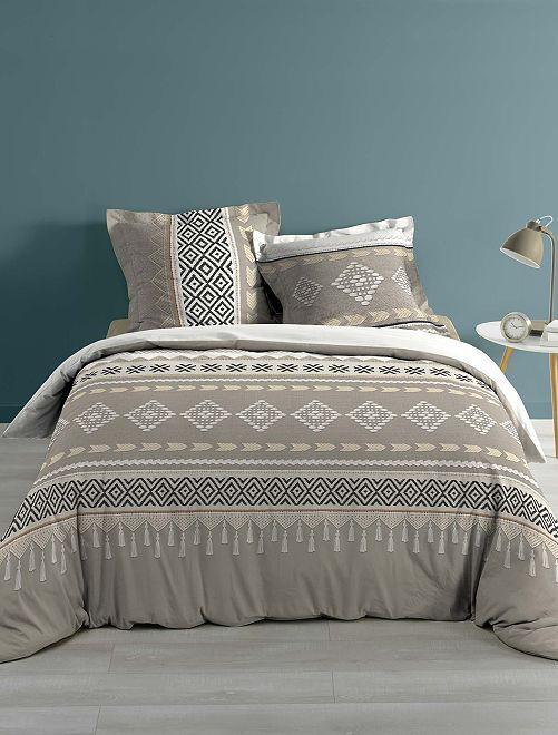 Parure de lit 2 personnes imprimé style berbère                             beige
