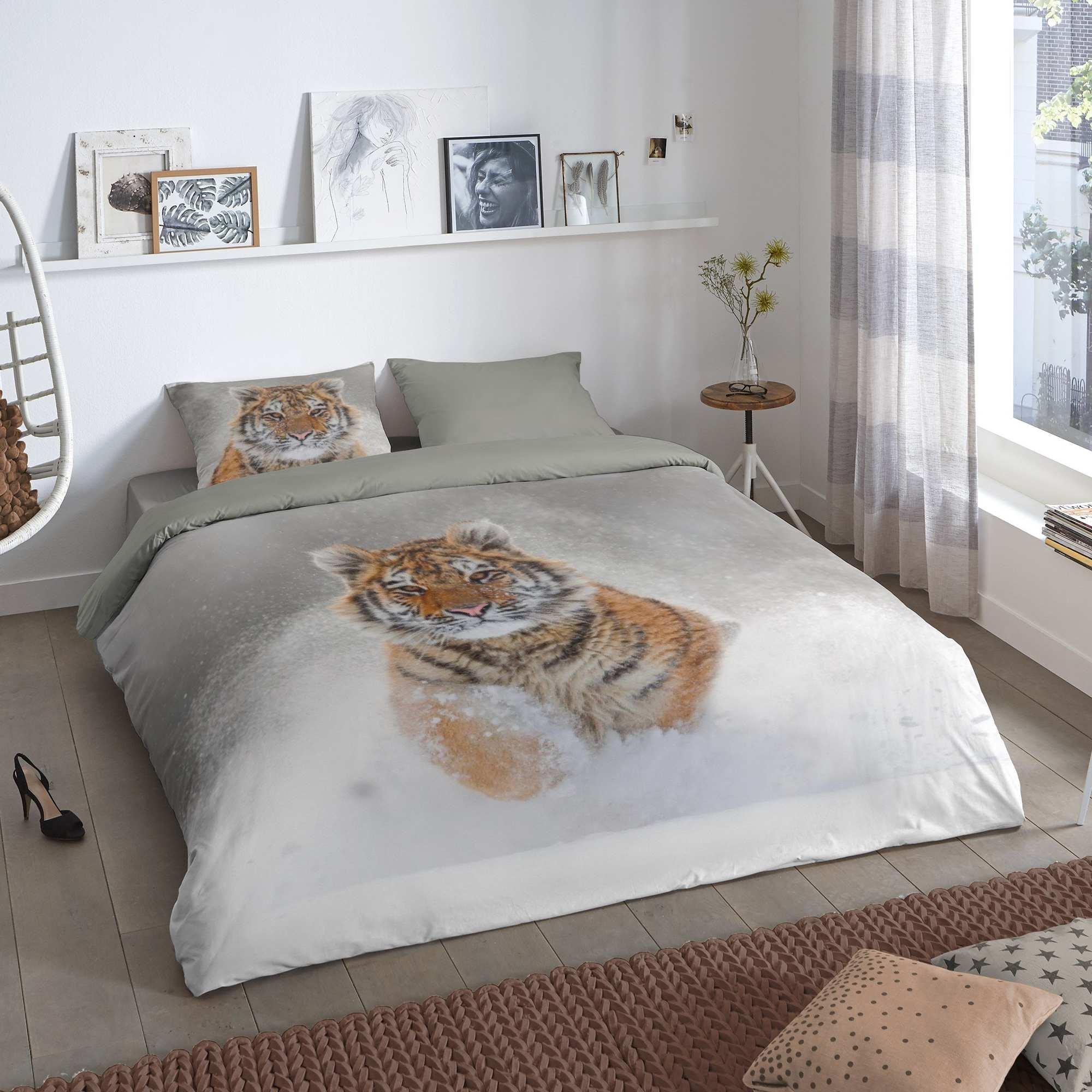 parure de lit 2 personnes imprim 39 tigre 39 linge de lit. Black Bedroom Furniture Sets. Home Design Ideas
