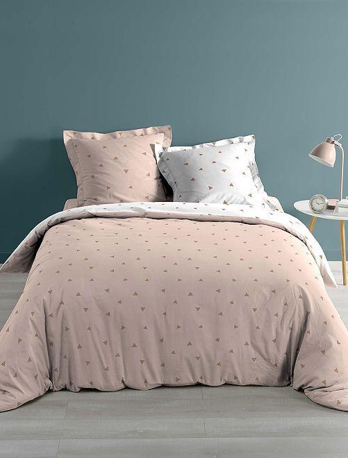 Parure de lit 2 personnes imprimé 'triangle'                             rose Linge de lit