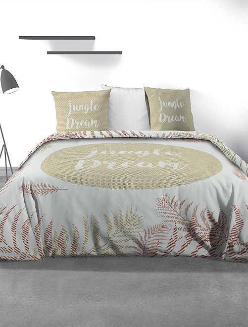 Parure de lit 2 personnes imprimée                             blanc/beige