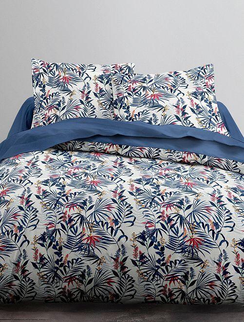 Parure de lit 2 personnes imprimée                             blanc/bleu