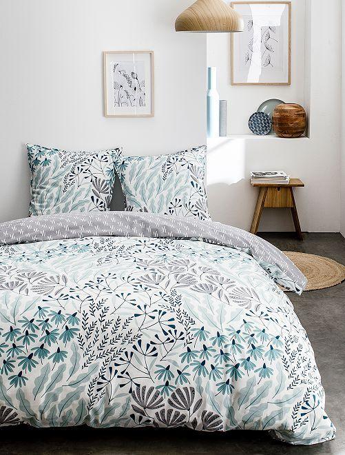 Parure de lit 2 personnes imprimée 'fleurs'                             blanc/bleu