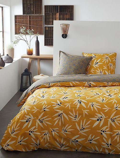 Parure de lit 2 personnes                             jaune moutarde/gris