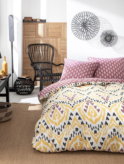 Parure de lit 2 personnes                             jaune/bordeaux Linge de lit