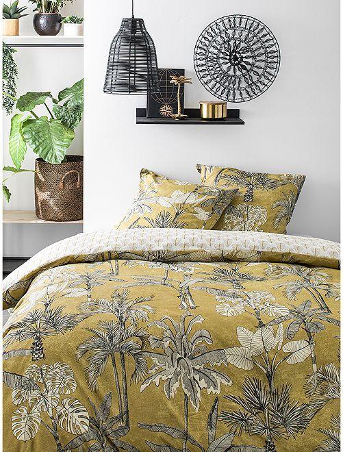 Parure de lit 2 personnes                             jaune/gris