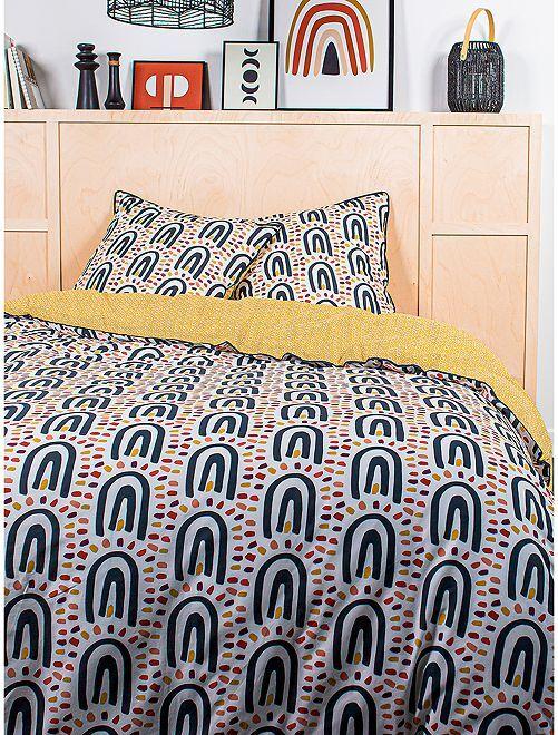 Parure de lit 2 personnes                             jaune/marine