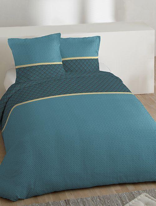 Parure de lit 2 personnes micro motifs                             bleu Linge de lit