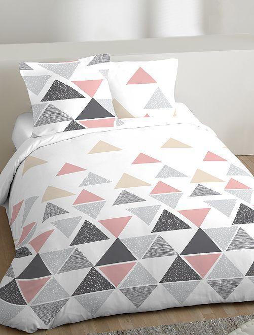 Parure de lit 2 personnes motifs géométriques                             blanc/rose Linge de lit
