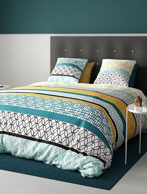 Parure de lit 2 personnes motifs 'géométriques'                             bleu/jaune