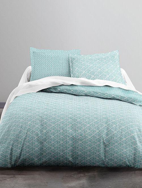 Parure de lit 2 personnes motifs géométriques                             vert Linge de lit