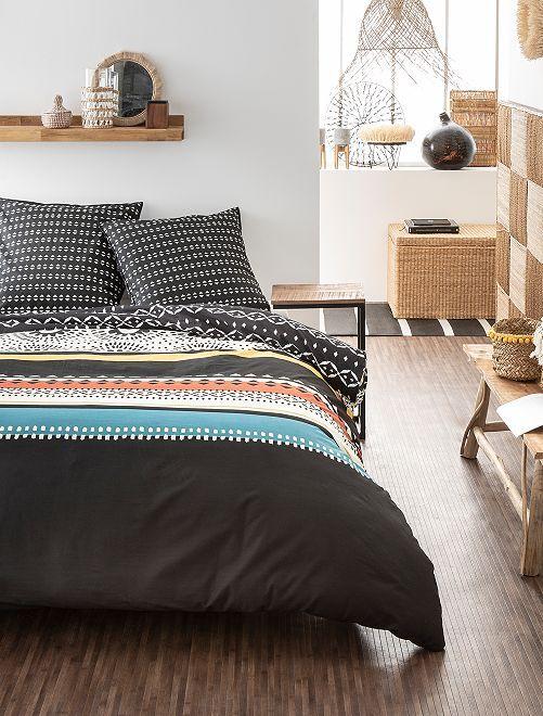 Parure de lit 2 personnes                             noir/blanc Linge de lit