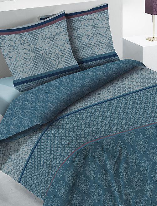 Parure de lit 2 personnes pur coton                             bleu Linge de lit